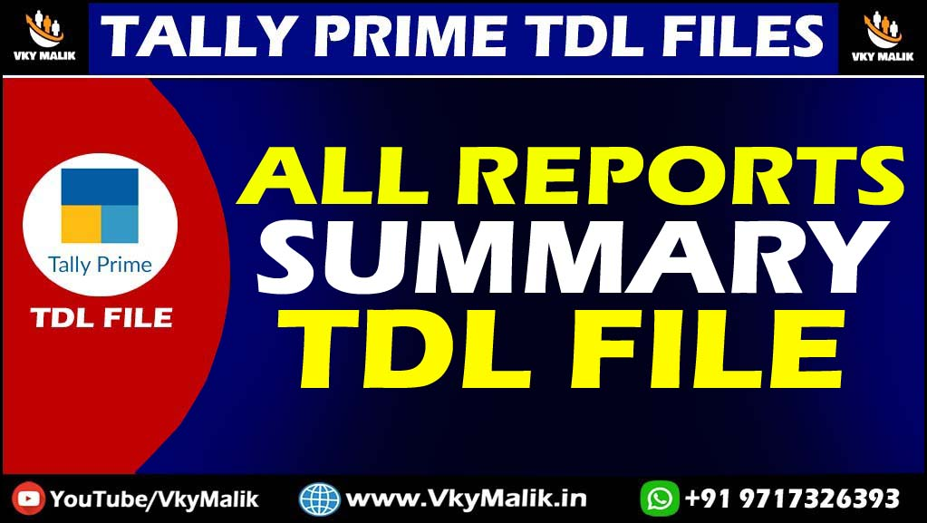 All Reports TDL File in Taly Prime | Tally Prime TDL Free Download